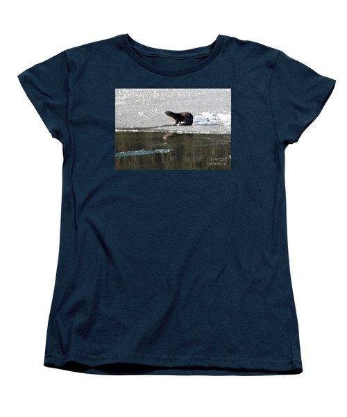 Frosty River Otter  Women's T-Shirt (Standard Cut) by Mike Dawson
