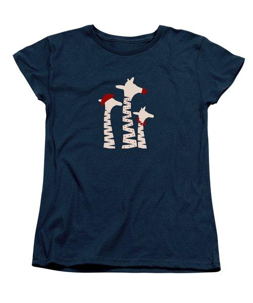 Giraffes Holiday Season Design Women's T-Shirt (Standard Cut) by Brigitte Carre