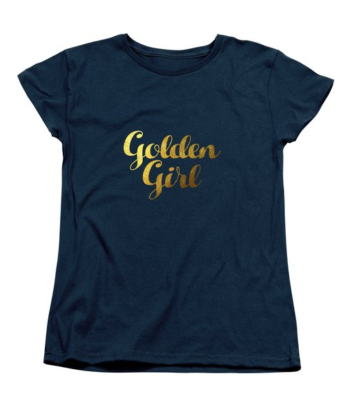 Women's T-Shirt featuring the digital art Golden Girl Typography by Bekare Creative