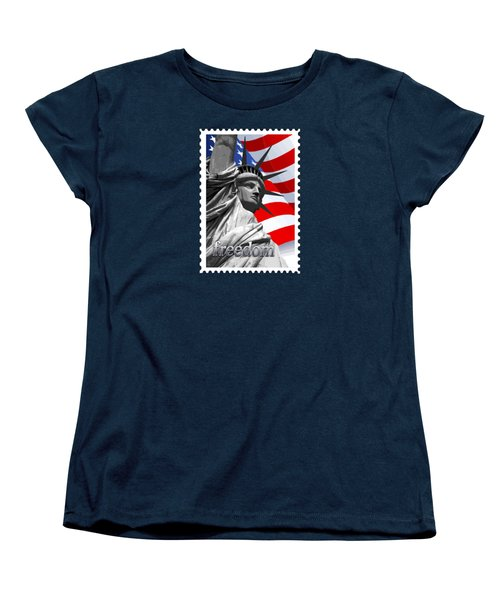 Graphic Statue Of Liberty With American Flag Text Freedom Women's T-Shirt (Standard Cut) by Elaine Plesser