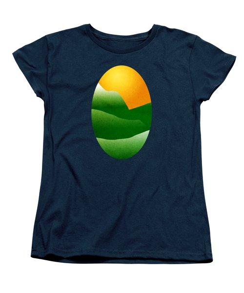 Green Mountain Sunrise Landscape Art Women's T-Shirt (Standard Cut) by Christina Rollo