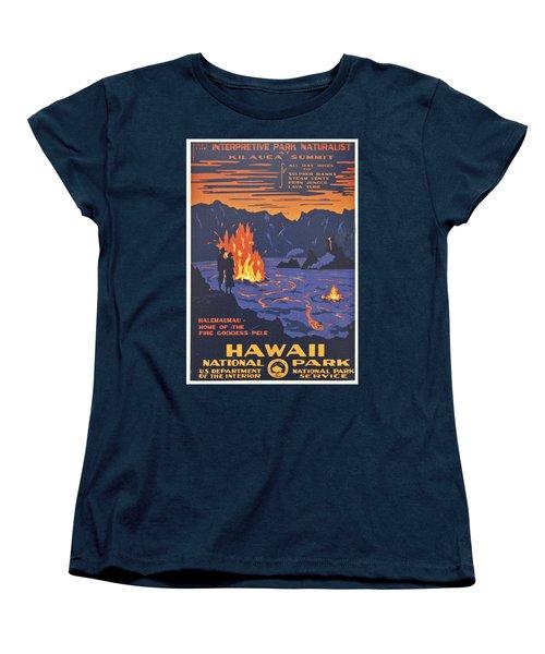 Hawaii Vintage Travel Poster Women's T-Shirt (Standard Cut) by Georgia Fowler