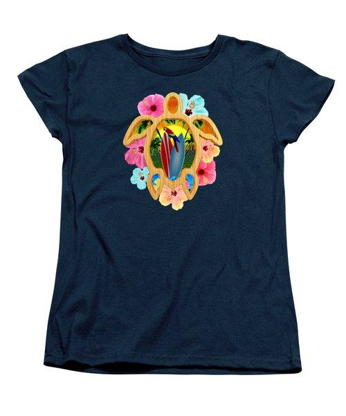 Hawaiian Surfboard Sunset Women's T-Shirt (Standard Cut) by Chris MacDonald