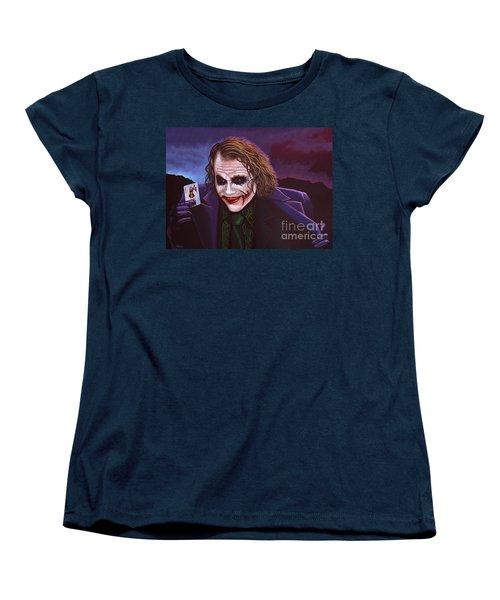 Heath Ledger As The Joker Painting Women's T-Shirt (Standard Cut) by Paul Meijering
