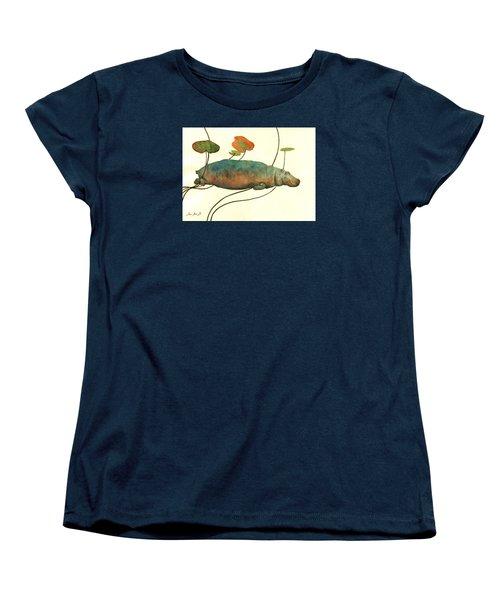 Hippo Swimming With Water Lilies Women's T-Shirt (Standard Cut) by Juan  Bosco