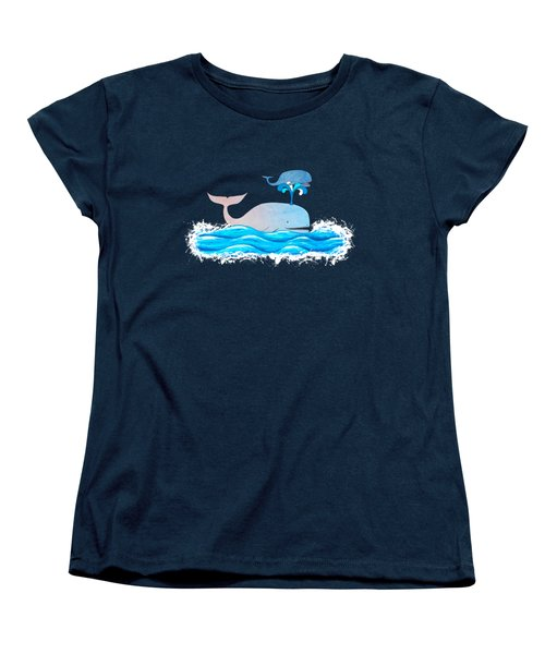 How Whales Have Fun Women's T-Shirt (Standard Cut) by Shawna Rowe