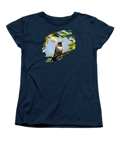 Hummingbird With Flowers Women's T-Shirt (Standard Cut) by Christina Rollo