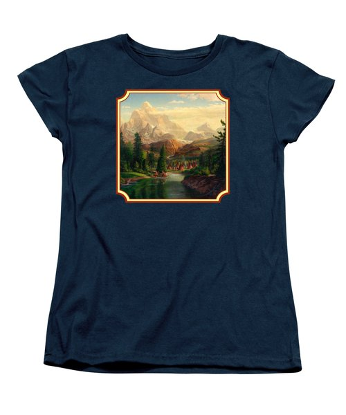 Indian Village Trapper Western Mountain Landscape Oil Painting - Native Americans -square Format Women's T-Shirt (Standard Cut) by Walt Curlee