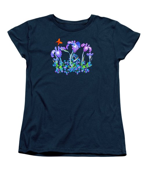 Iris Bouquet With Forget Me Nots Women's T-Shirt (Standard Cut) by Teresa Ascone