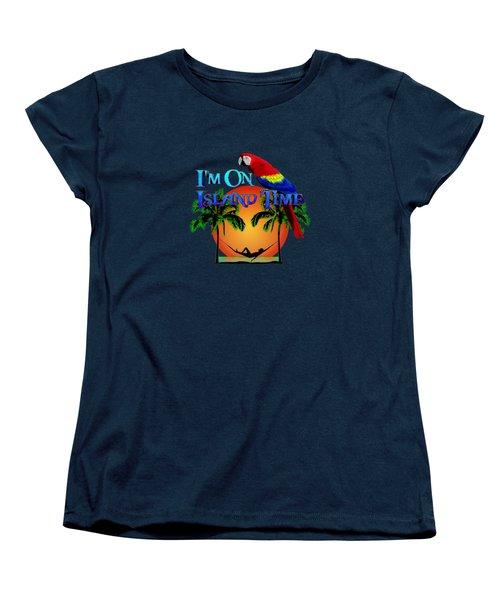 Island Time And Parrot Women's T-Shirt (Standard Cut) by Chris MacDonald
