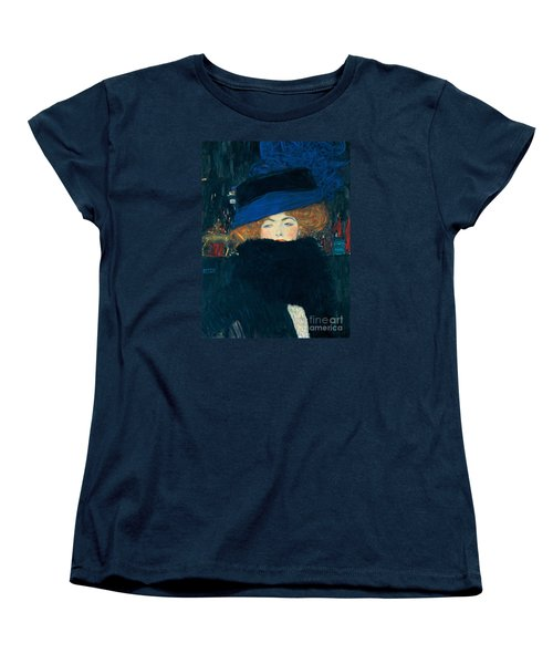 Lady With A Hat And A Feather Boa Women's T-Shirt (Standard Cut) by Gustav Klimt