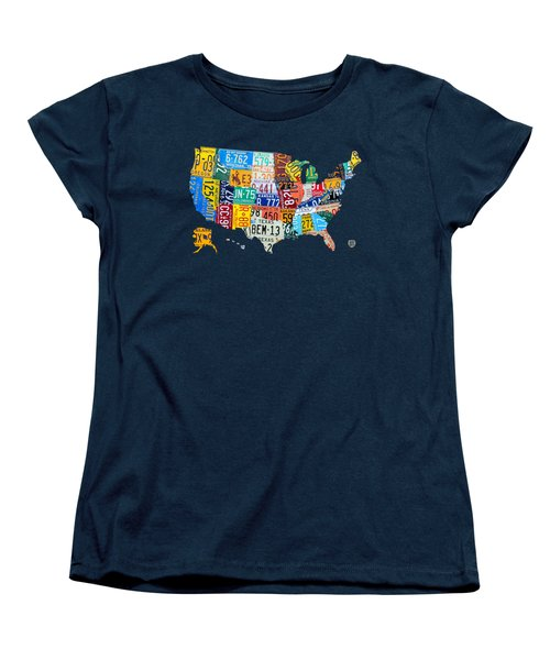 License Plate Map Of The United States Women's T-Shirt (Standard Cut) by Design Turnpike