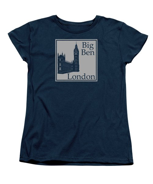 London's Big Ben In Gray Women's T-Shirt (Standard Cut) by Custom Home Fashions