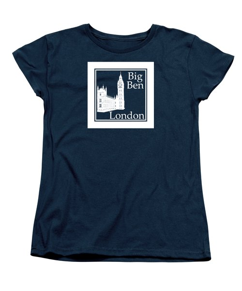 London's Big Ben In White - Inverse  Women's T-Shirt (Standard Cut) by Custom Home Fashions