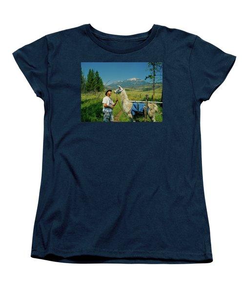 Man Teasing A Llama Women's T-Shirt (Standard Cut) by Jerry Voss