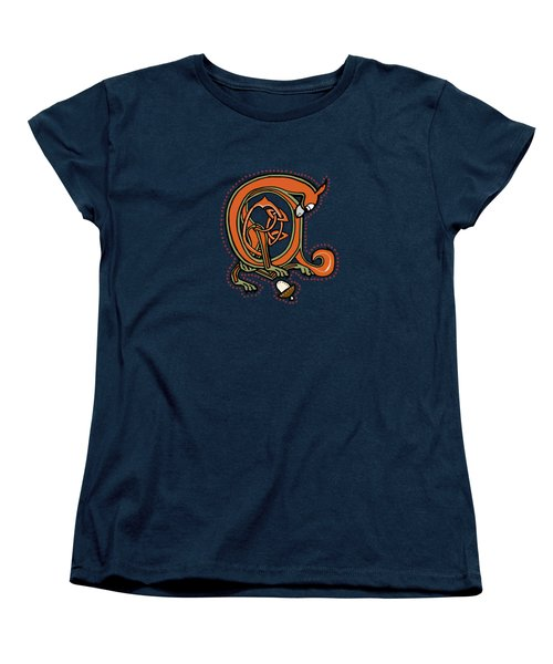 Medieval Squirrel Blue A Women's T-Shirt (Standard Cut) by Donna Huntriss