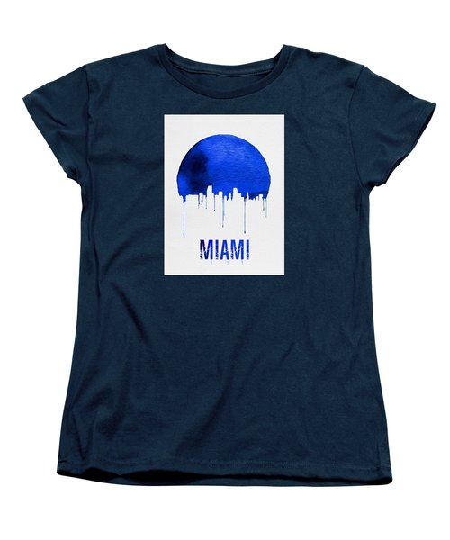 Miami Skyline Blue Women's T-Shirt (Standard Cut) by Naxart Studio