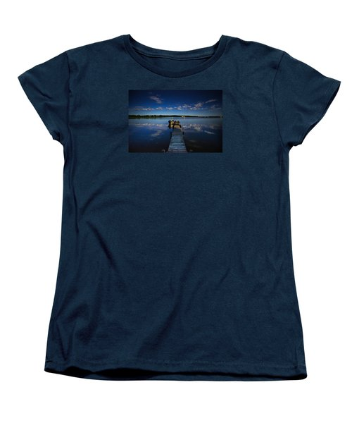 Midnight At Shady Shore On Moose Lake Minnesota Women's T-Shirt (Standard Cut) by Alex Blondeau