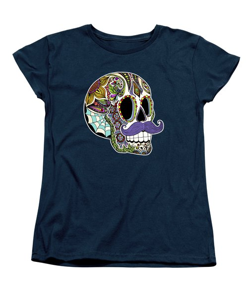 Mustache Sugar Skull Women's T-Shirt (Standard Cut) by Tammy Wetzel