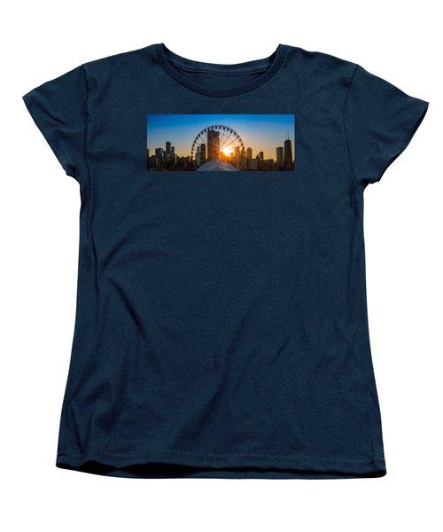 Navy Pier Sundown Chicago Women's T-Shirt (Standard Cut) by Steve Gadomski
