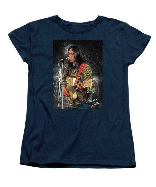 Neil Young Women's T-Shirt (Standard Cut) by Taylan Apukovska