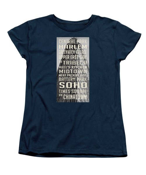 New York City Subway Stops Flat Iron Building Women's T-Shirt (Standard Cut) by Edward Fielding