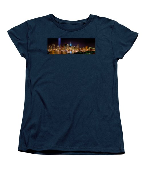New York City Tribute In Lights And Lower Manhattan At Night Nyc Women's T-Shirt (Standard Cut) by Jon Holiday