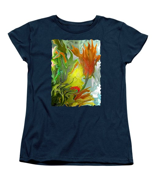 Orange Tulip Women's T-Shirt (Standard Cut) by Kathy Moll