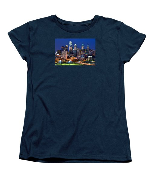Philadelphia Skyline At Night Women's T-Shirt (Standard Cut) by Jon Holiday