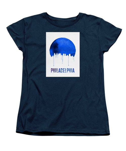 Philadelphia Skyline Blue Women's T-Shirt (Standard Cut) by Naxart Studio