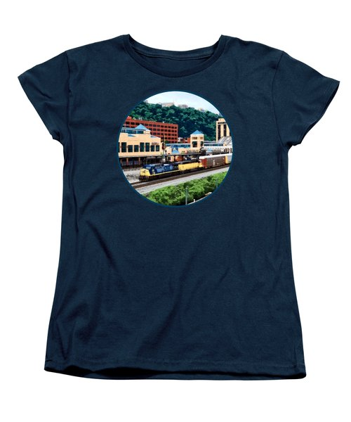 Pittsburgh Pa - Freight Train Going By Station Square Women's T-Shirt (Standard Cut) by Susan Savad