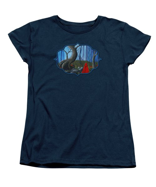Red Riding Hood In The Forest Women's T-Shirt (Standard Cut) by Anastasiya Malakhova