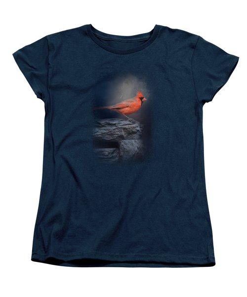 Redbird On The Rocks Women's T-Shirt (Standard Cut) by Jai Johnson