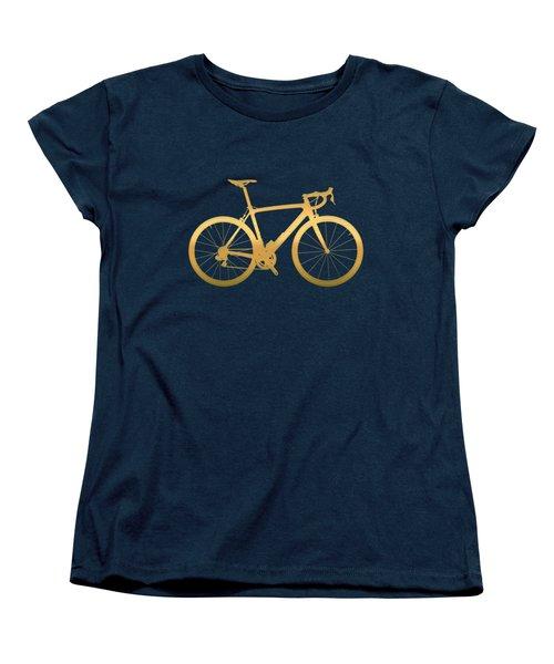 Road Bike Silhouette - Gold On Beige Canvas Women's T-Shirt (Standard Cut) by Serge Averbukh