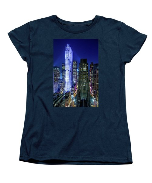 Women's T-Shirt (Standard Cut) featuring the photograph Rockefeller At Night by M G Whittingham