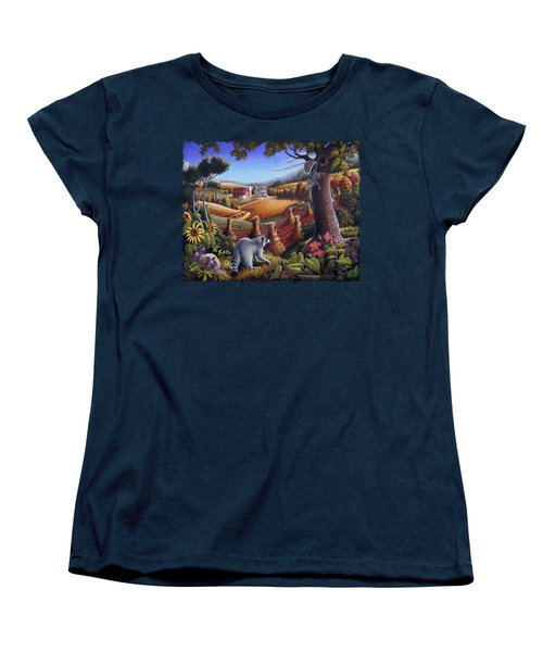 Rural Country Farm Life Landscape Folk Art Raccoon Squirrel Rustic Americana Scene  Women's T-Shirt (Standard Cut) by Walt Curlee