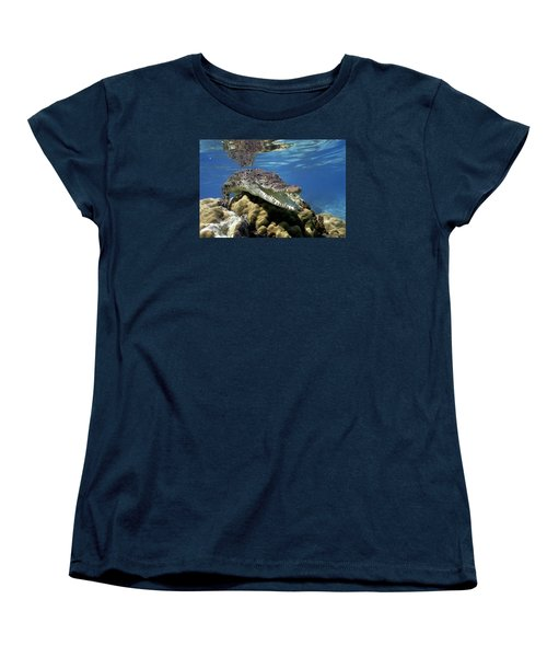 Saltwater Crocodile Smile Women's T-Shirt (Standard Cut) by Mike Parry