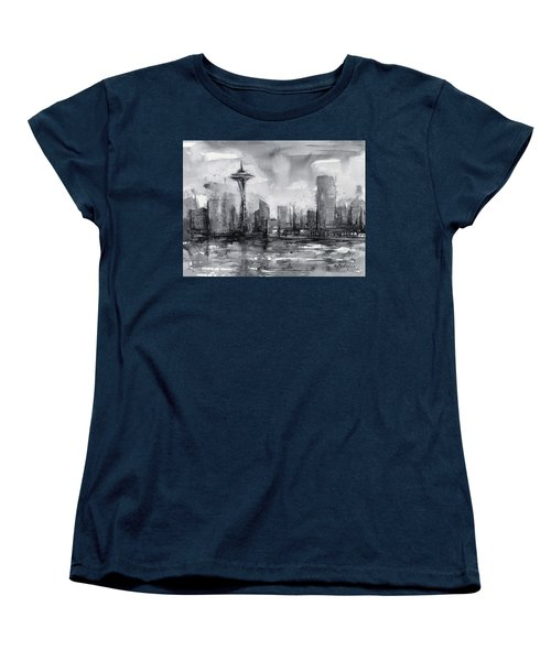 Seattle Skyline Painting Watercolor  Women's T-Shirt (Standard Cut) by Olga Shvartsur