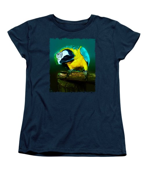 Silly Maya The Macaw Parrot Women's T-Shirt (Standard Cut) by Linda Koelbel