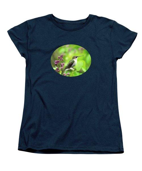Spring Beauty Ruby Throat Hummingbird Women's T-Shirt (Standard Cut) by Christina Rollo