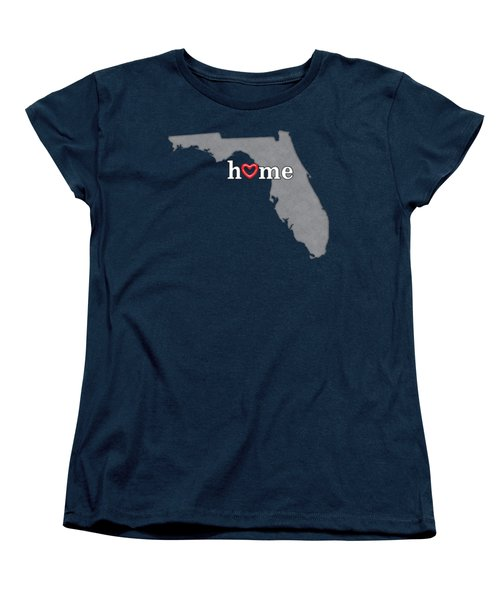 State Map Outline Florida With Heart In Home Women's T-Shirt (Standard Cut) by Elaine Plesser