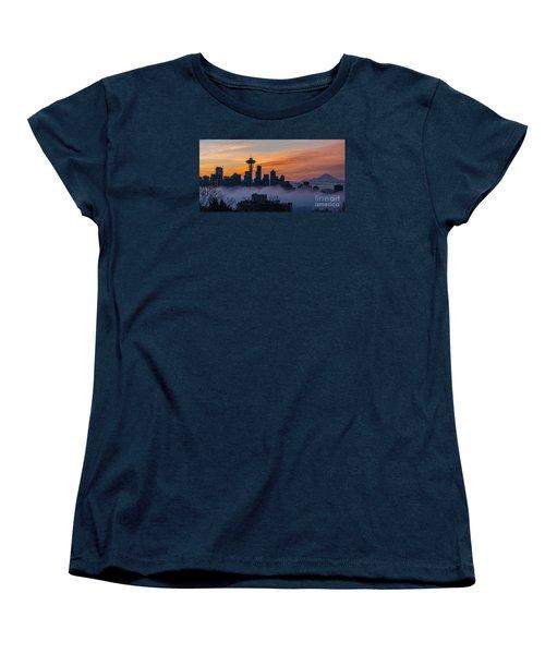 Sunrise Seattle Skyline Above The Fog Women's T-Shirt (Standard Cut) by Mike Reid
