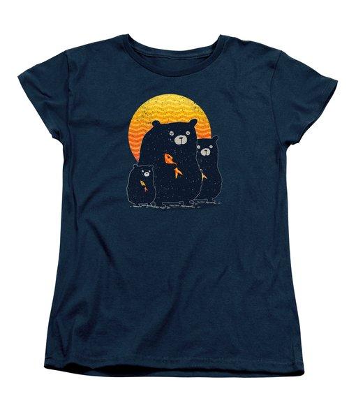 Sunset Bear Family Women's T-Shirt (Standard Cut) by Illustratorial Pulse