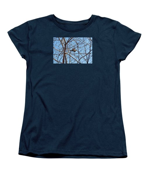 The Ruffed Grouse Flying Through Trees And Branches Women's T-Shirt (Standard Cut) by Asbed Iskedjian
