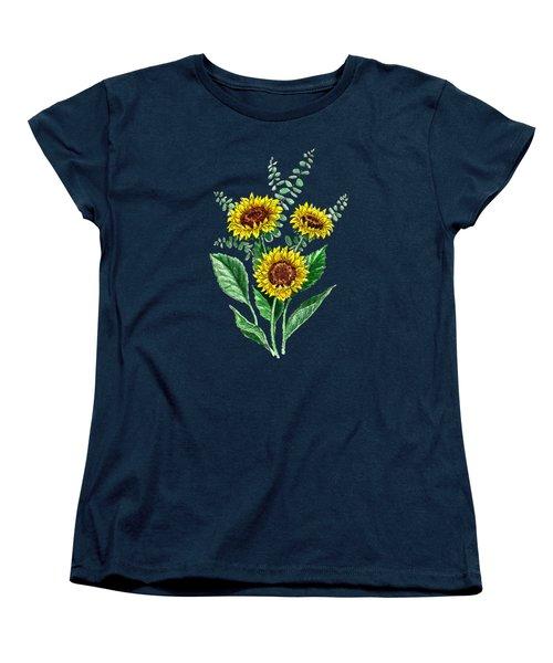 Three Playful Sunflowers Women's T-Shirt (Standard Cut) by Irina Sztukowski