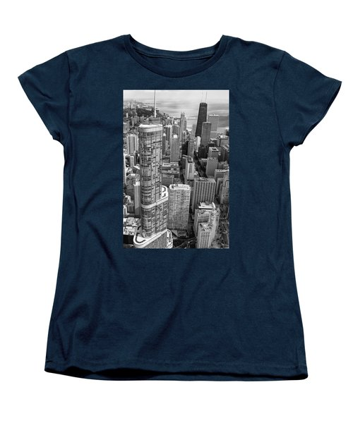Trump Tower And John Hancock Aerial Black And White Women's T-Shirt (Standard Cut) by Adam Romanowicz