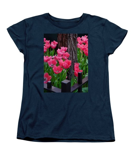Tulips And Tree Women's T-Shirt (Standard Cut) by Mike Nellums