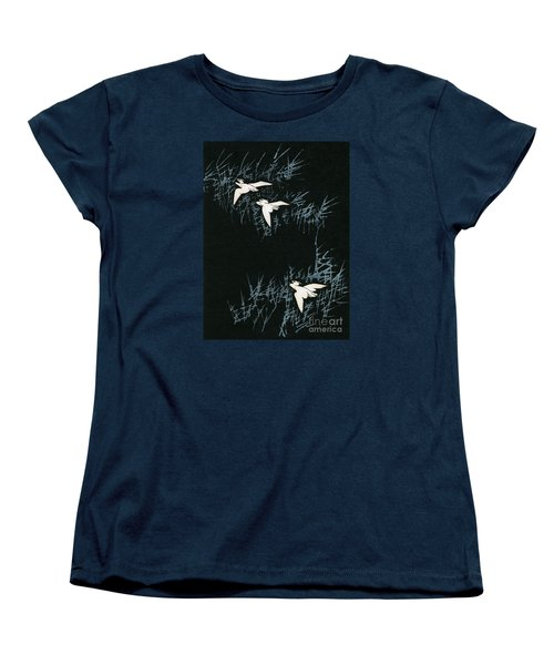 Vintage Japanese Illustration Of Three Cranes Flying In A Night Landscape Women's T-Shirt (Standard Cut) by Japanese School