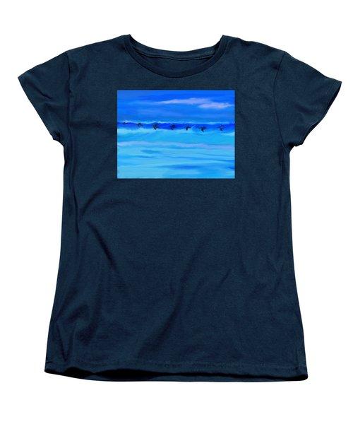 Vol De Pelicans Women's T-Shirt (Standard Cut) by Aline Halle-Gilbert