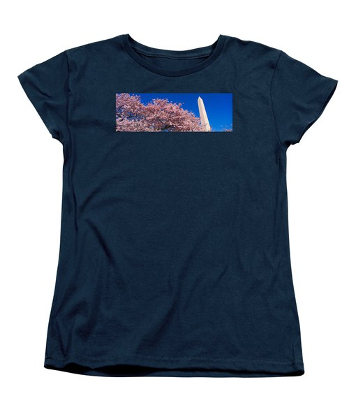 Washington Monument & Spring Cherry Women's T-Shirt (Standard Cut) by Panoramic Images